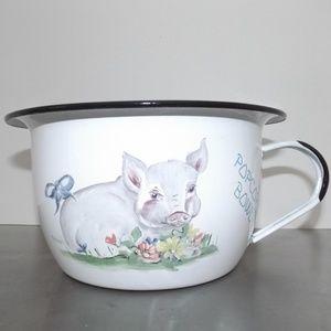 Farmhouse popcorn bowl black white tin Pig Enamel
